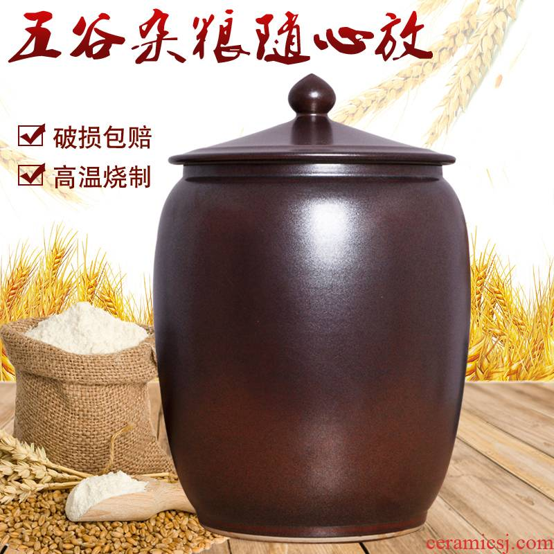 Ceramic barrel with 30 kg ricer box cover of household kitchen moisture storage canned rice box tea cylinder seal pot
