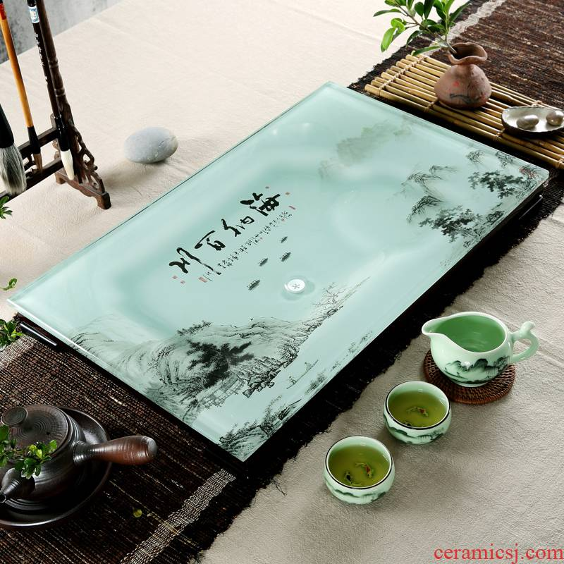 Qiu time household I and contracted a rectangle toughened glass tea tray was suit coloured glaze ceramic kung fu tea tea