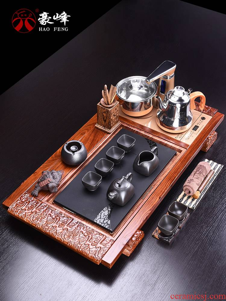 HaoFeng home a whole set of kung fu tea set purple ceramic tea set hua limu sharply stone tea tray was solid wood tea table
