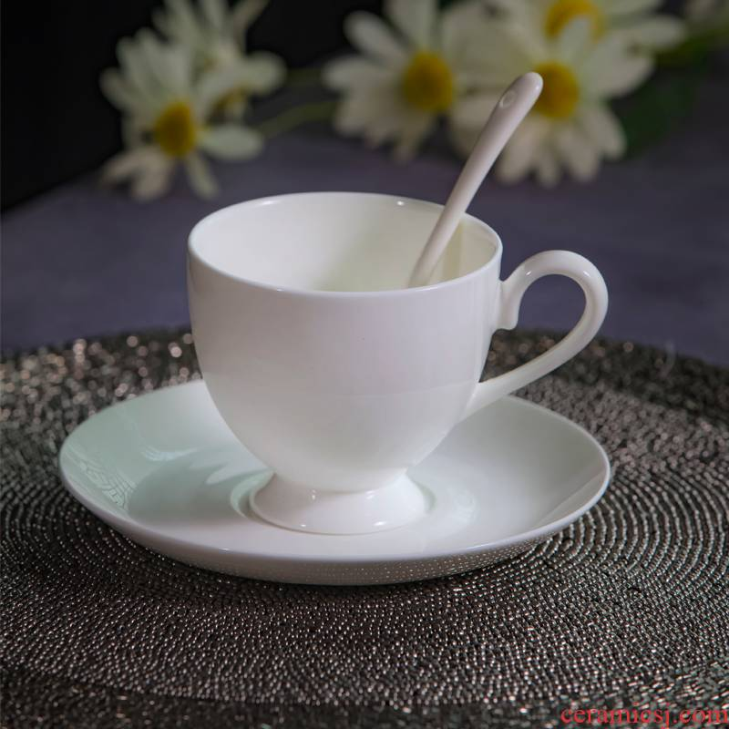 Jingdezhen ceramic white contracted coffee cup dish suits for office, conference room, coffee cup custom logo