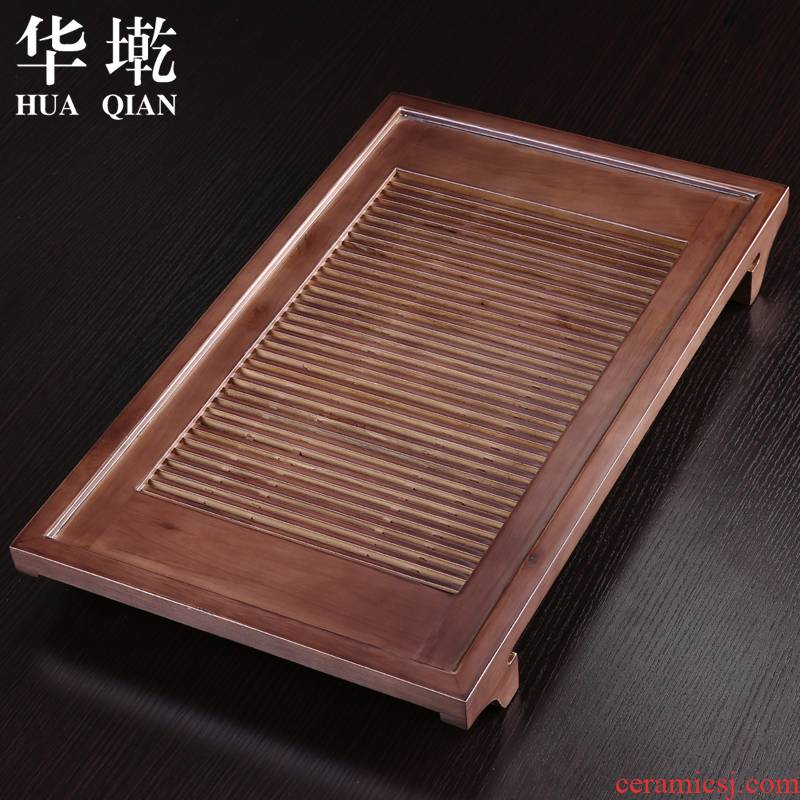 China Qian household solid wood tea tray drawer water drainage and log kung fu tea saucer kung fu tea set