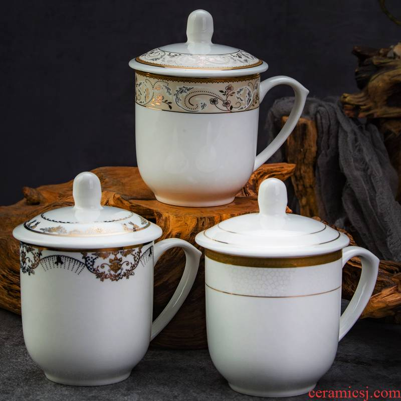 Jingdezhen ceramic cups with cover office keller cup and meeting the custom LOGO household reception tea cup