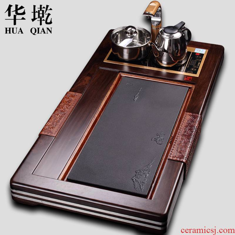 China Qian tea tray ebony wood tea table hua limu tea sea sharply stone kung fu tea set large four unity induction cooker
