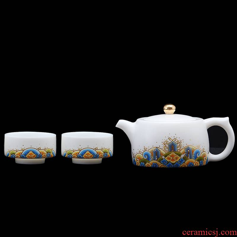 Mingyuan FengTang dehua white porcelain kung fu tea set of household ceramic cups a pot of two cups of hill sea water collector
