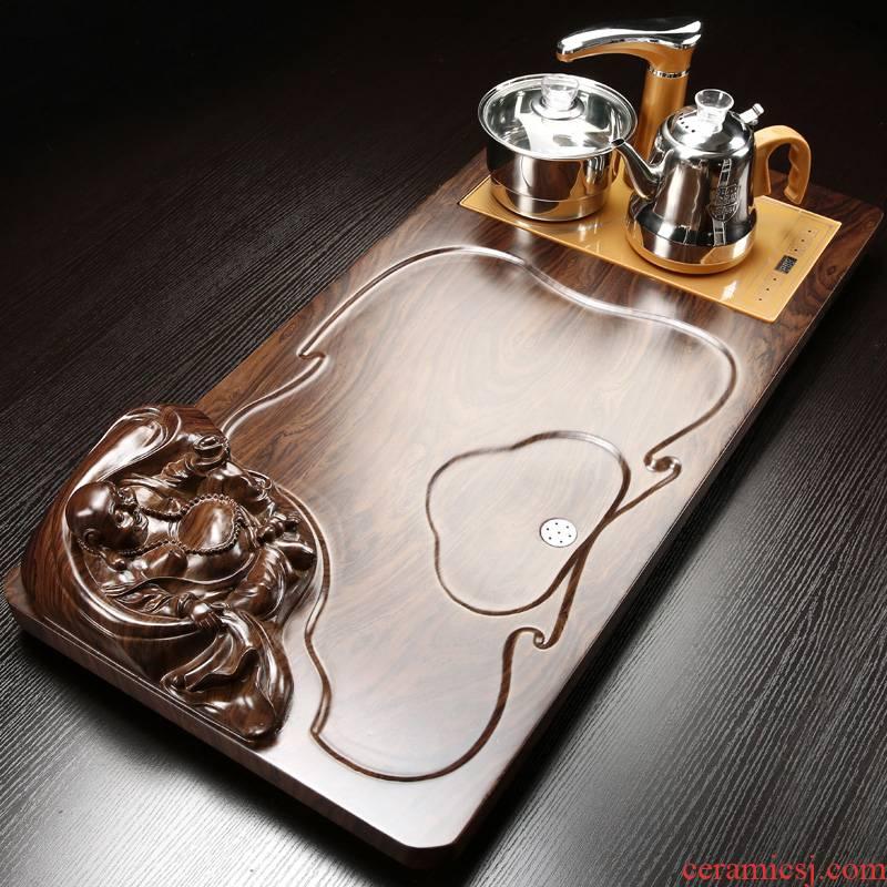 Poly real (sheng wood tea tray household automatic kung fu tea tea set induction cooker rectangle tea tea