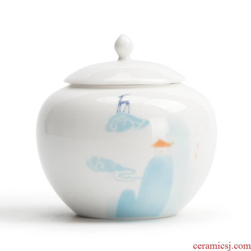 [proprietary] Mr Nan shan nine colored deer jade porcelain tea pot ceramic seal character small tea warehouse storage tanks