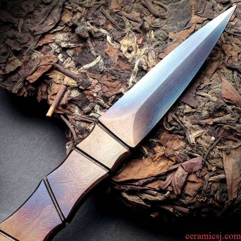 Longquan manual forging pattern steel dao Damascus puer tea cake open tea tea accessories ChaZhen