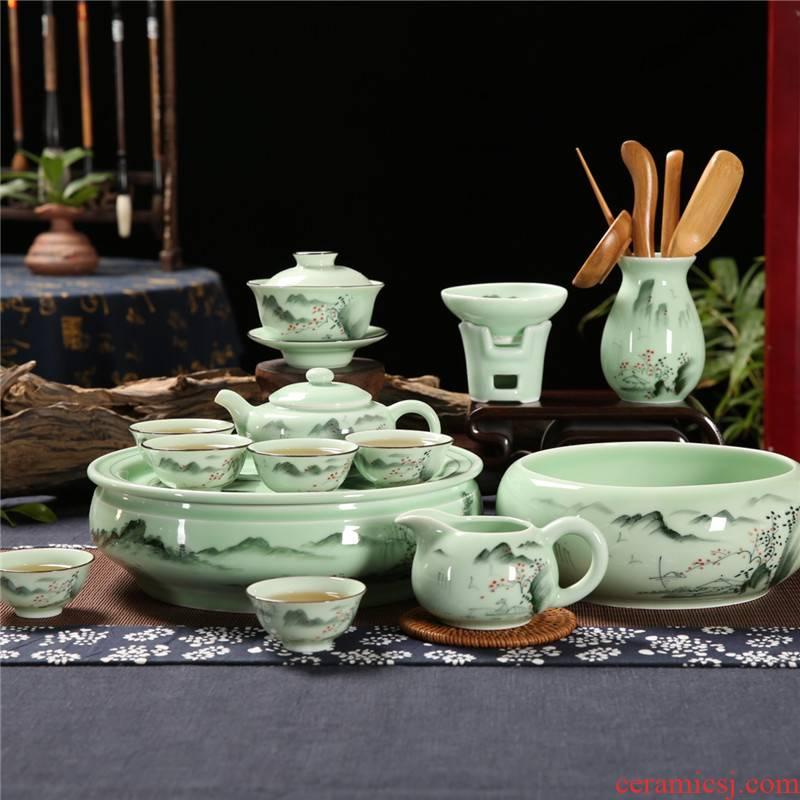 Qiu time household celadon hand - made chaoshan kungfu tea sets tea cup teapot composite ceramic water small tea tray
