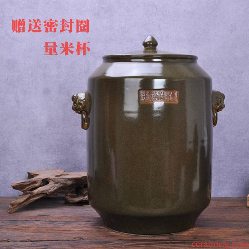 Jingdezhen ceramics with cover barrel ricer box meal kitchen oil cylinder tank at the end of the storage tank is 50 kg 100 jins moistureproof