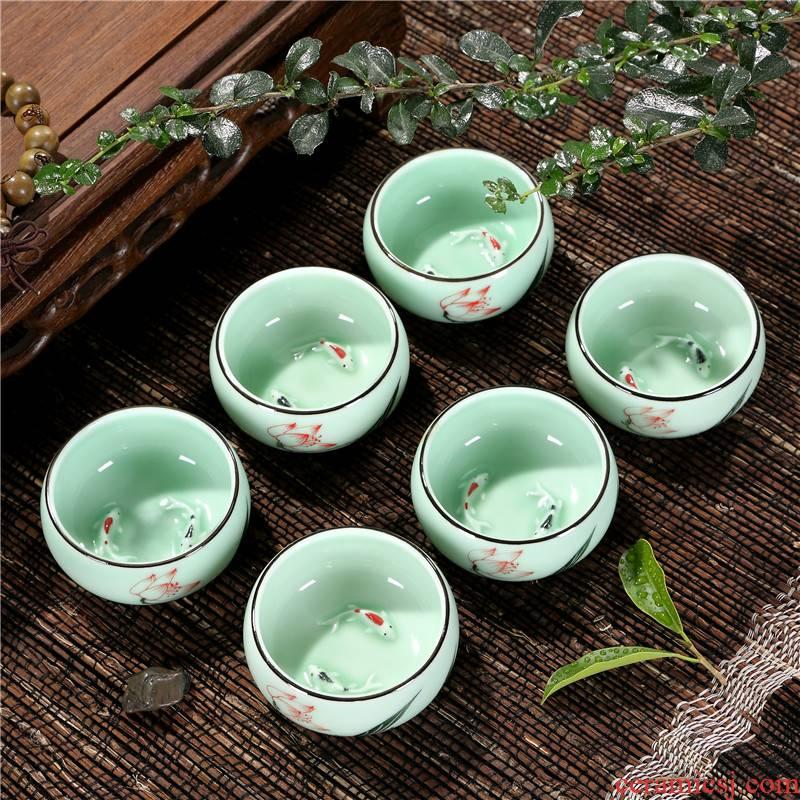 Celadon household goldfish fish kunfu tea cup tea set ceramic cup small fish bowl 6 pack porcelain cup