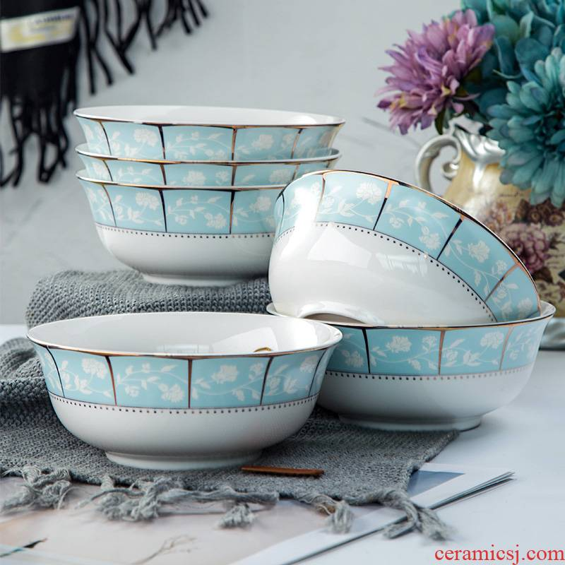 Ceramic bowl home eat rice soup rainbow such use central Japanese 6 inches large bowl of noodles jingdezhen cutlery set