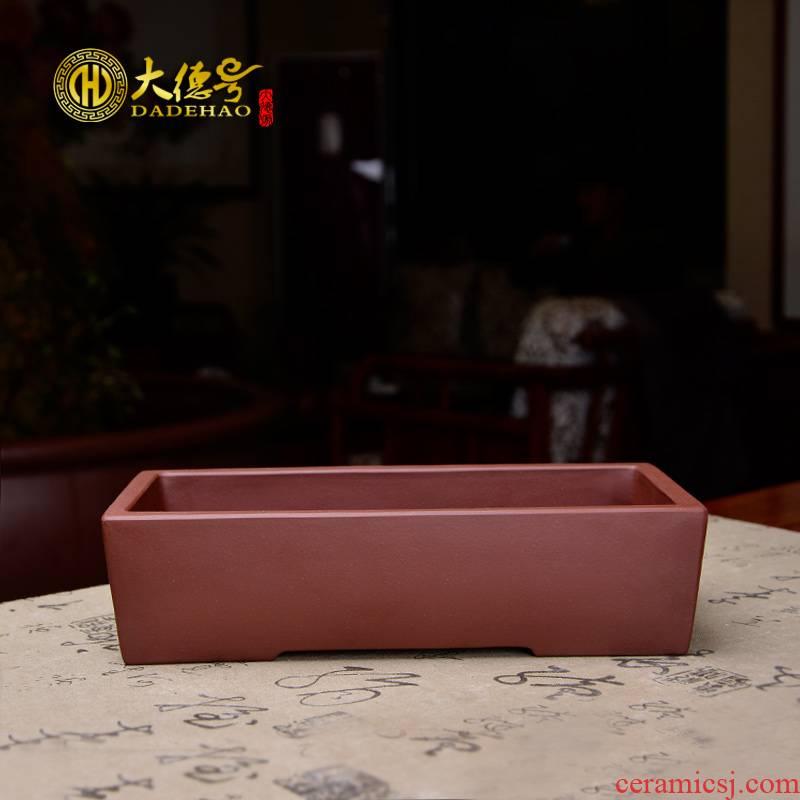 Greatness, yixing purple sand flowerpot high - quality goods wall rectangular basin was indicative flowers green plant bonsai POTS