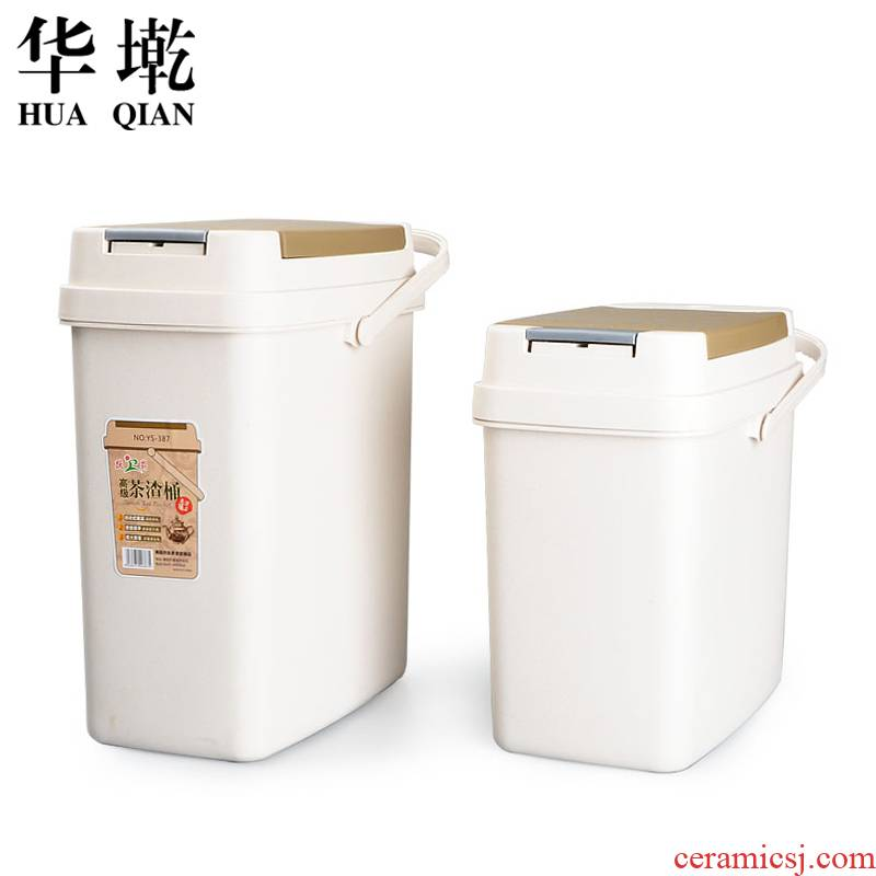 China Qian dross barrels with cover small waste water barrel kung fu tea tea barrel barrel bucket bin tea bucket