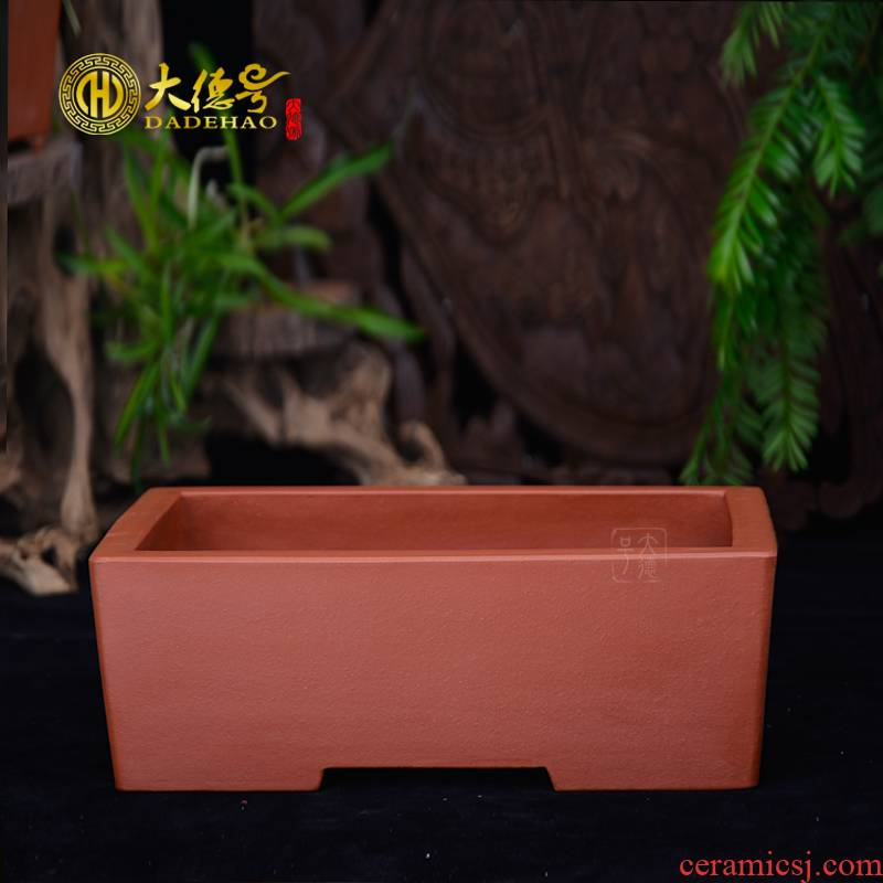 Rectangular flowerpot boutique indoor green, the plants potted bonsai pot classical contracted rockery yixing zisha ceramic basin