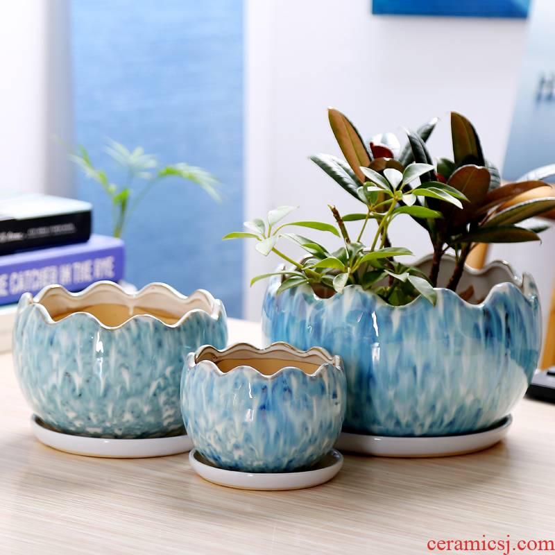 Contracted flowerpot ceramics with extra large tray wholesale sitting room more meat platter, green flowerpot pack mail went to plant trees