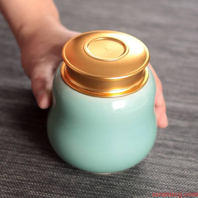 Caddy fixings longquan celadon portable ceramic seal save POTS tea set ceramic pot of pu 'er tea pot trumpet