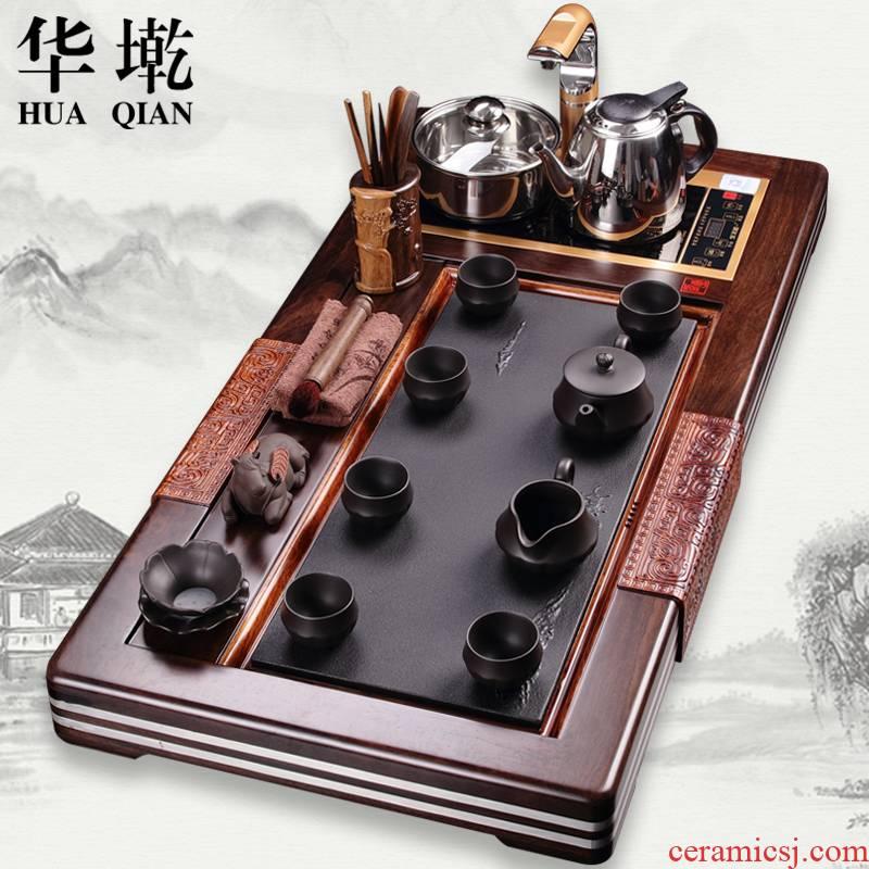 China Qian tea set a complete set of ebony wood tea tray was sharply stone tea sets of violet arenaceous kung fu tea set induction cooker