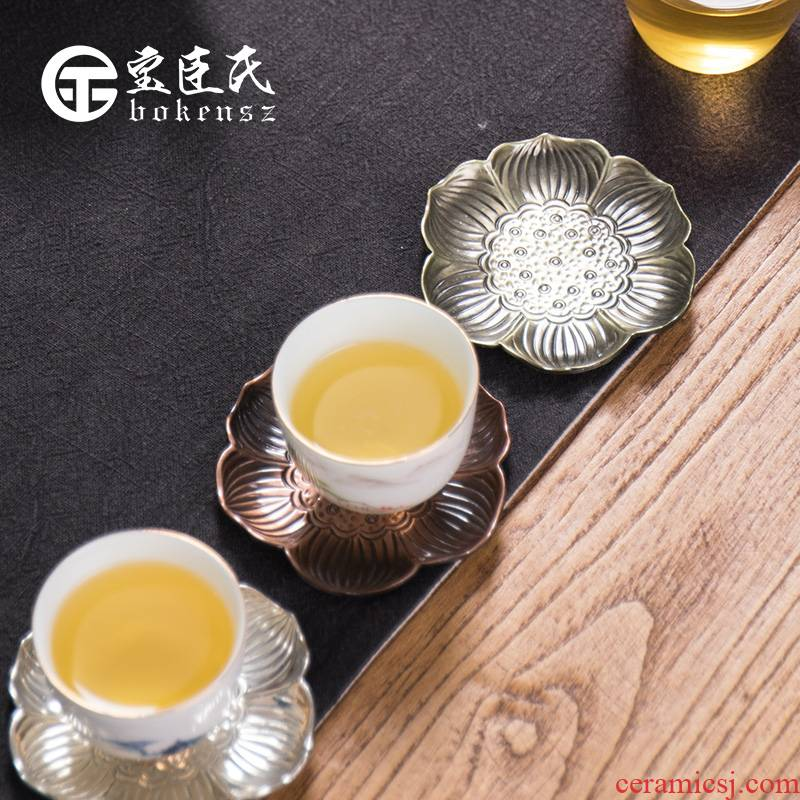 Treasure minister 's cup mat creative insulation cup tea tea accessories saucer saucer retro copper tea accessories