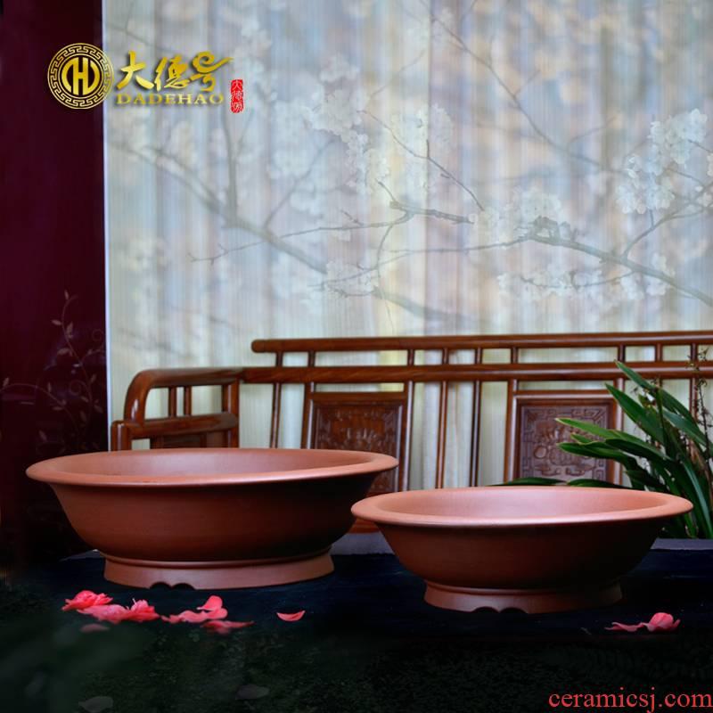 Yixing purple sand flowerpot size shallow circular boutique pot green plant bonsai pot the original intention of large diameter ceramic flower pot