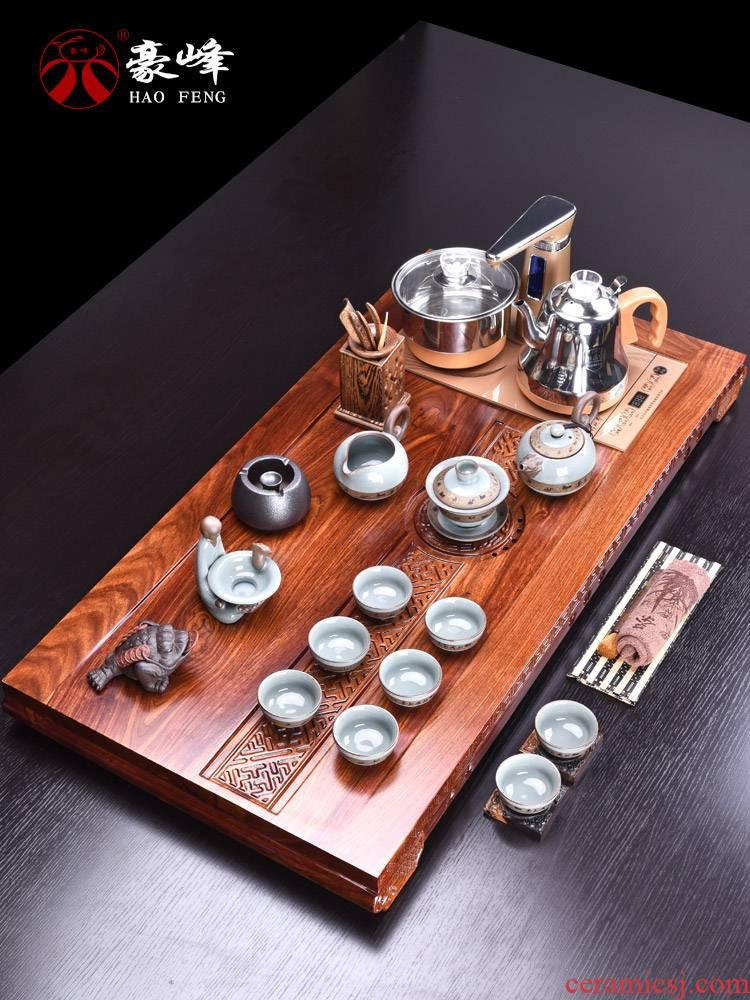 HaoFeng kung fu tea set purple ceramic tea set the whole of a complete set of hua limu tea tray was solid wood tea tray was home