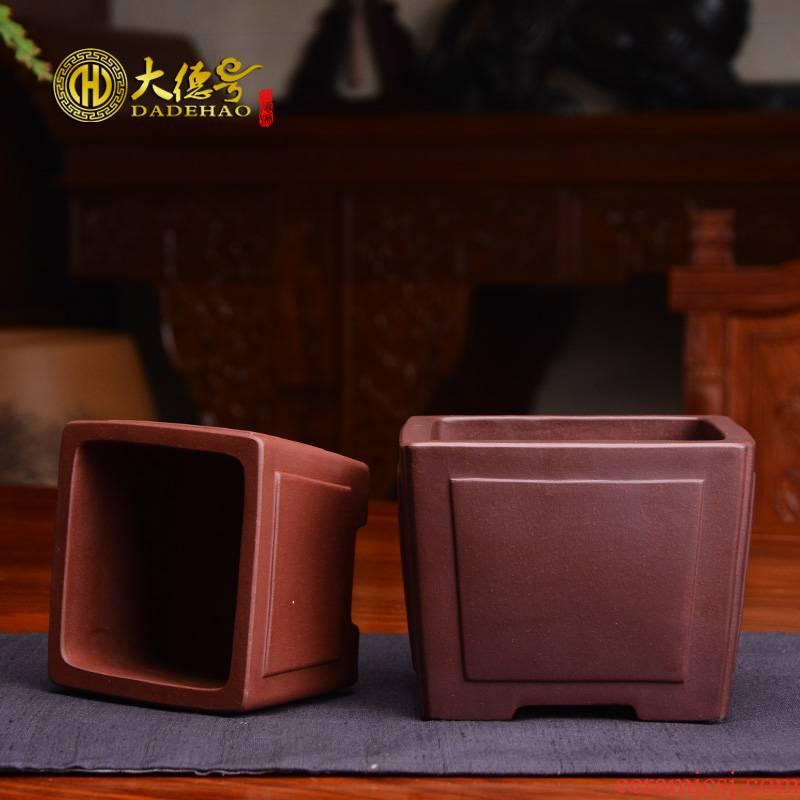 Basin of ceramic flower pot, fleshy square creative bonsai pot indoor potted plant calamus asparagus purple sand flowerpot