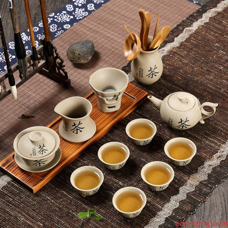 Qiu time household of Chinese style thick some ceramic porcelain kongfu tea cup lid bowl suit Japanese restore ancient ways of the ancients