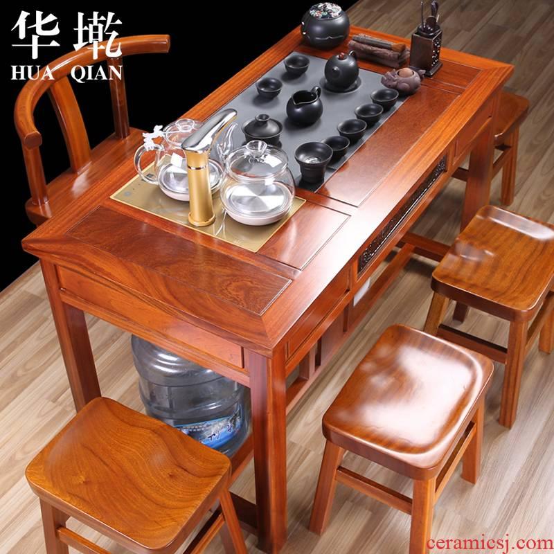 China Qian tea set tea tea tea tables and chairs combination spend pear wood tea table table of kongfu tea table