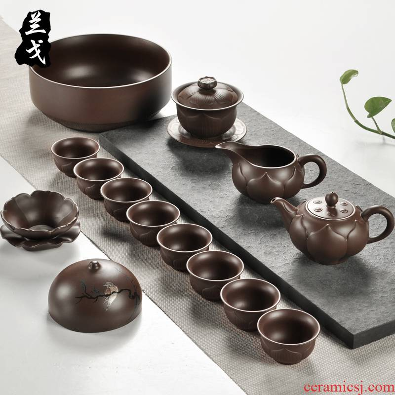 Having a complete set of the run of mine ore purple sand tea set home old xi shi purple clay pot of kung fu tea gift tea set the teapot