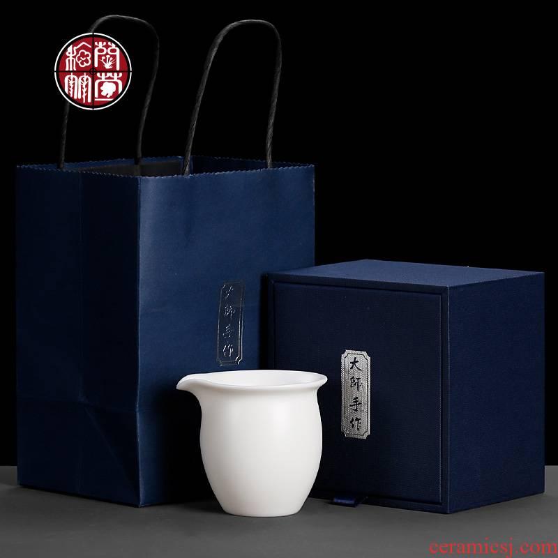Dehua white porcelain tea sea suet manual well fair keller cup more household small ceramic tea set and a cup of tea ware