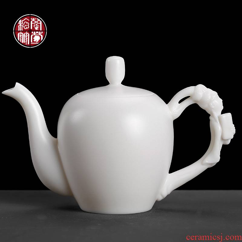 Household dehua ceramic tea suet jade teapot DE - gen Chen kung fu tea set a single pure manual white porcelain beauty pot