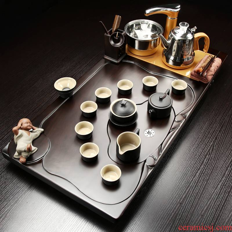 Poly real (sheng the whole piece of ebony wood tea tray was kung fu tea set household snap the tea set of automatic induction cooker
