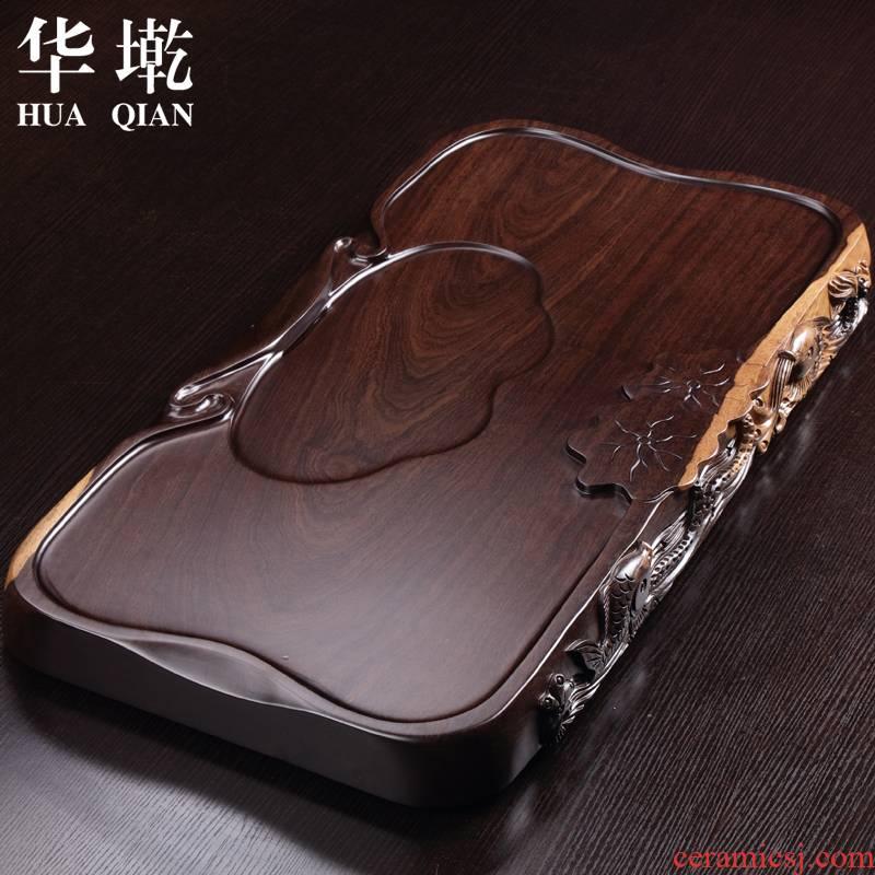 China Qian tea set side by hand carved blocks natural ebony log tea tray annatto saucer large solid wood tea