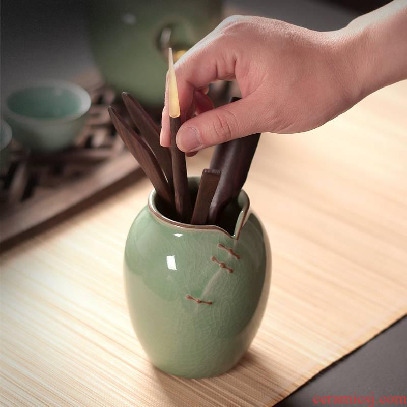 Ceramic tea tea spoon six gentleman 's suit kung fu tea set spare parts ChaGa tea filter ebony bamboo tea tool