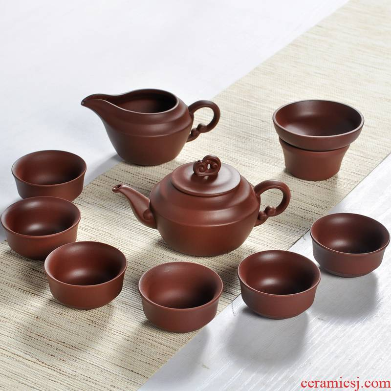 He undressed ore yixing purple sand kung fu tea set manually violet black mud lid bowl of tea gift set order