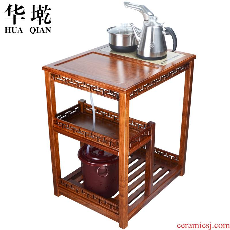 China Qian natural rosewood wood movable pulley car wings wood tea tea table of a complete set of tea service
