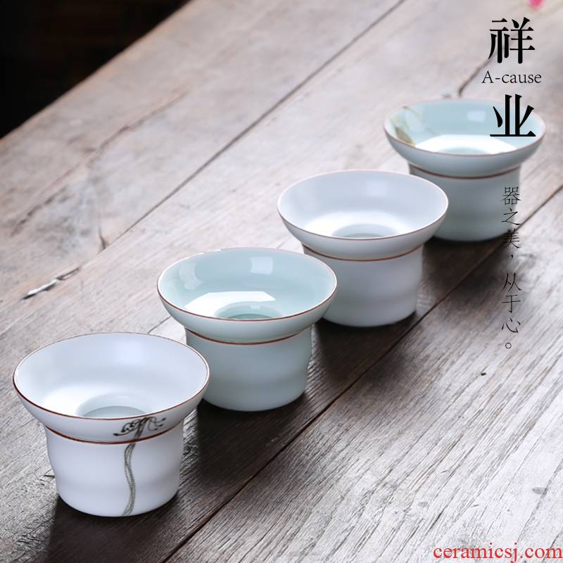 Auspicious industry make tea tea tea accessories) filter filter screen ceramic hand - made tea strainer filtering kunfu tea