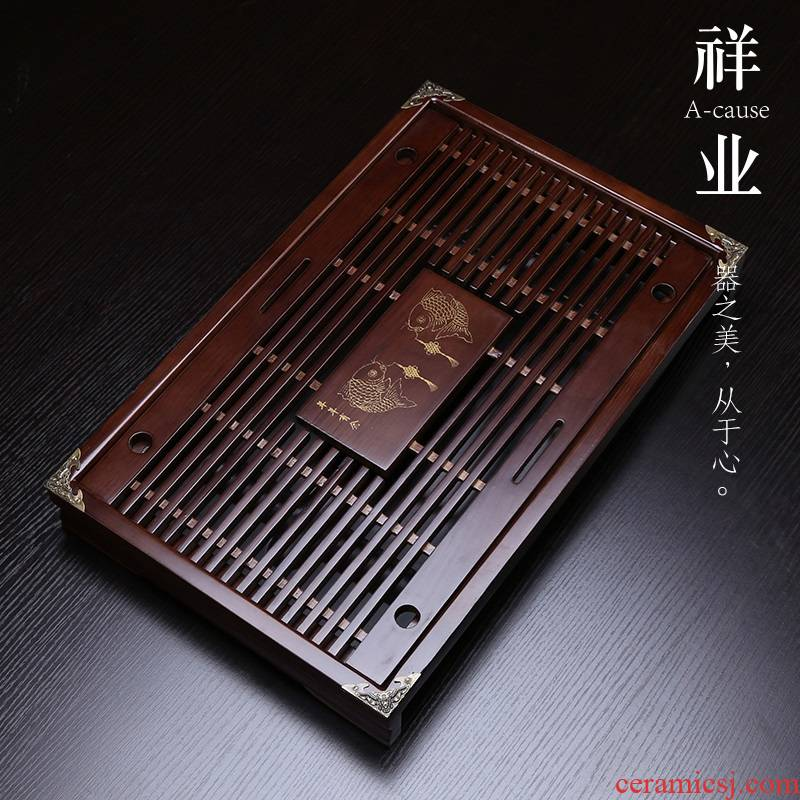 Auspicious industry solid wood kung fu tea tray tea tea family tea sea drainage contracted the drawer storage disc saucer plate