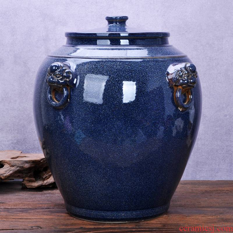 Jingdezhen ceramic barrel oil cylinder tank 20 jins 30 jins of 50 kg 100 jins water storage tank with tap water bucket