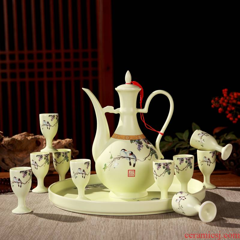 Antique Chinese style household creative points of jingdezhen ceramics wine wine home wine pot liquor cup gift set
