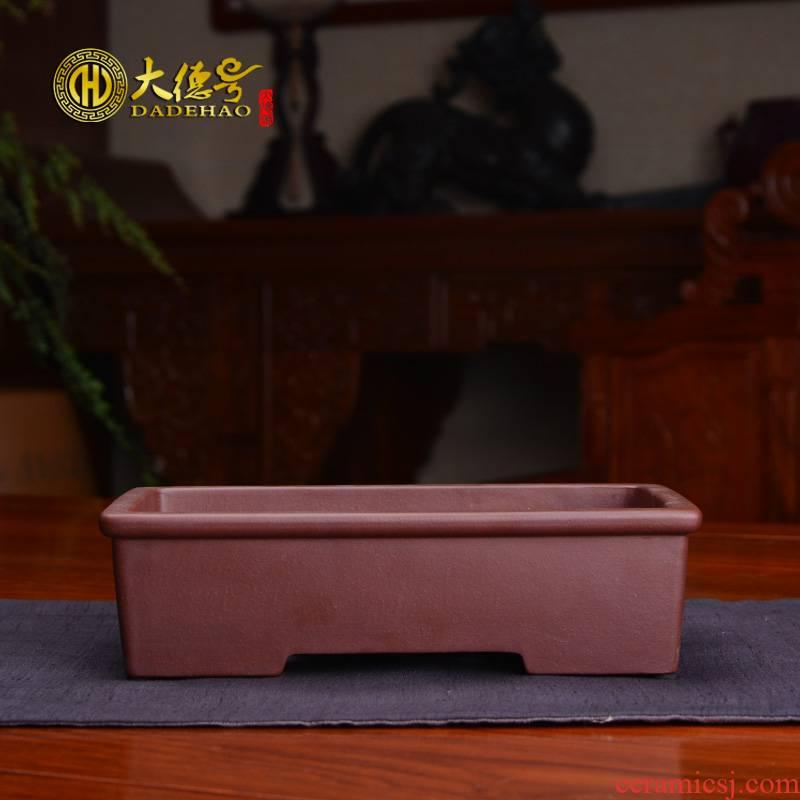 Small rectangular bonsai pot boutique purple sand flowerpot asparagus rockery the plants Chinese wind ceramic flower pot