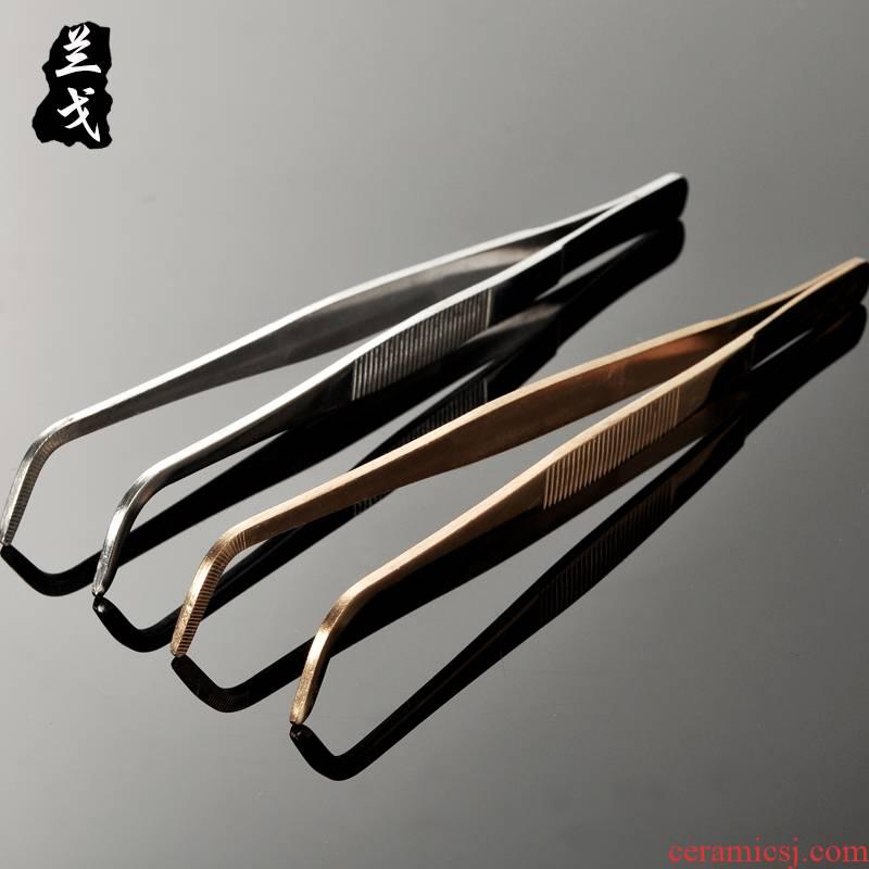 Having more metal stainless steel ChaGa extended tweezers chopsticks big teacup clip kung fu tea tea tea accessories