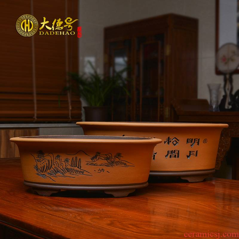Purple sand flowerpot huai bonsai POTS potted green plant ceramic extra large balcony vegetable rectangular waist round bowl