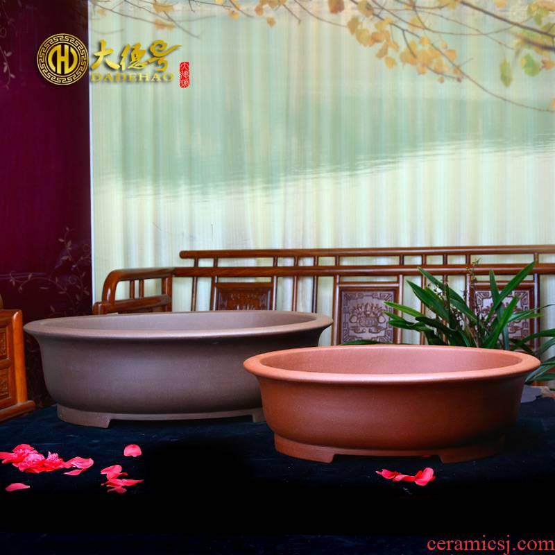 Greatness, yixing purple sand flowerpot high - quality goods size, waist round bonsai pot purple clay cement