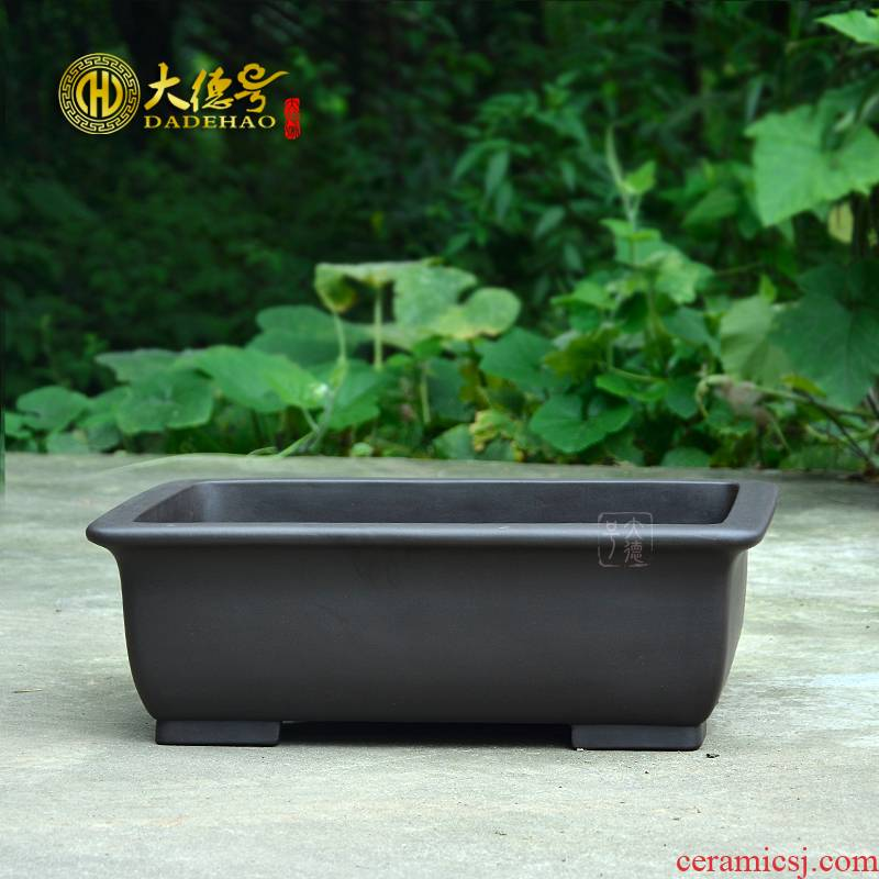 Greatness, yixing purple sand flowerpot boutique basin to black mud big rectangular cliff bonsai pot