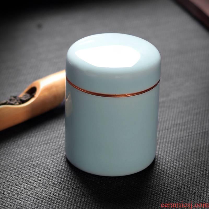 Tea caddy fixings longquan celadon portable ceramic seal storage POTS ceramic pot pu 'er Tea POTS trumpet