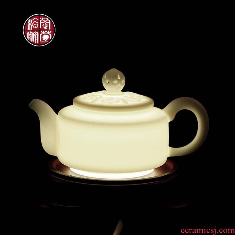 De - gen Chen, a high - white small ceramic suet jade teapot tea accessories household kung fu tea, single pot of porcelain