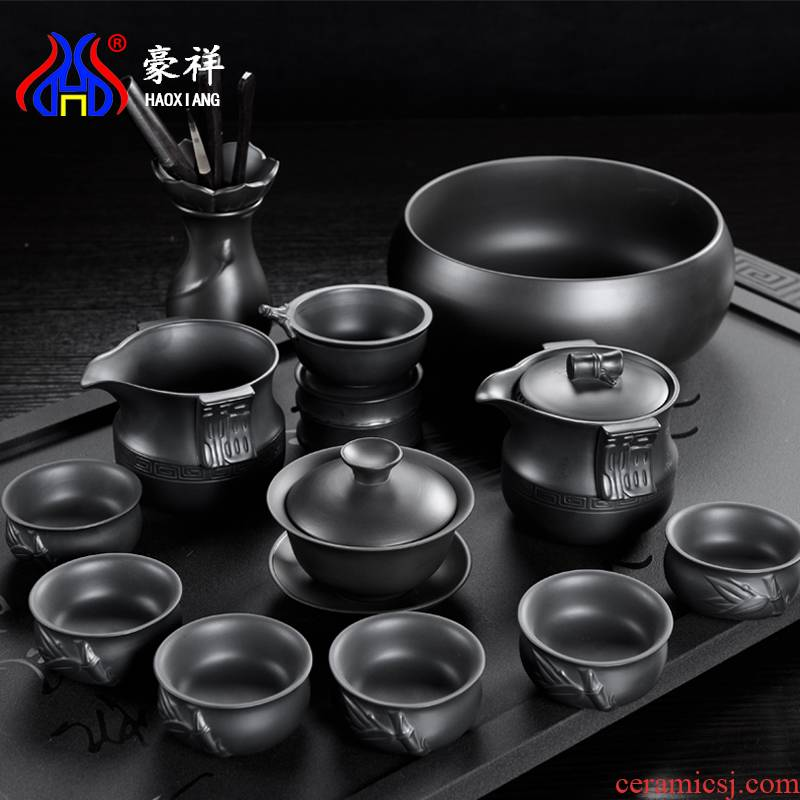 Yixing purple sand of a complete set of kung fu tea set undressed ore old purple clay lid bowl gift office tea cups