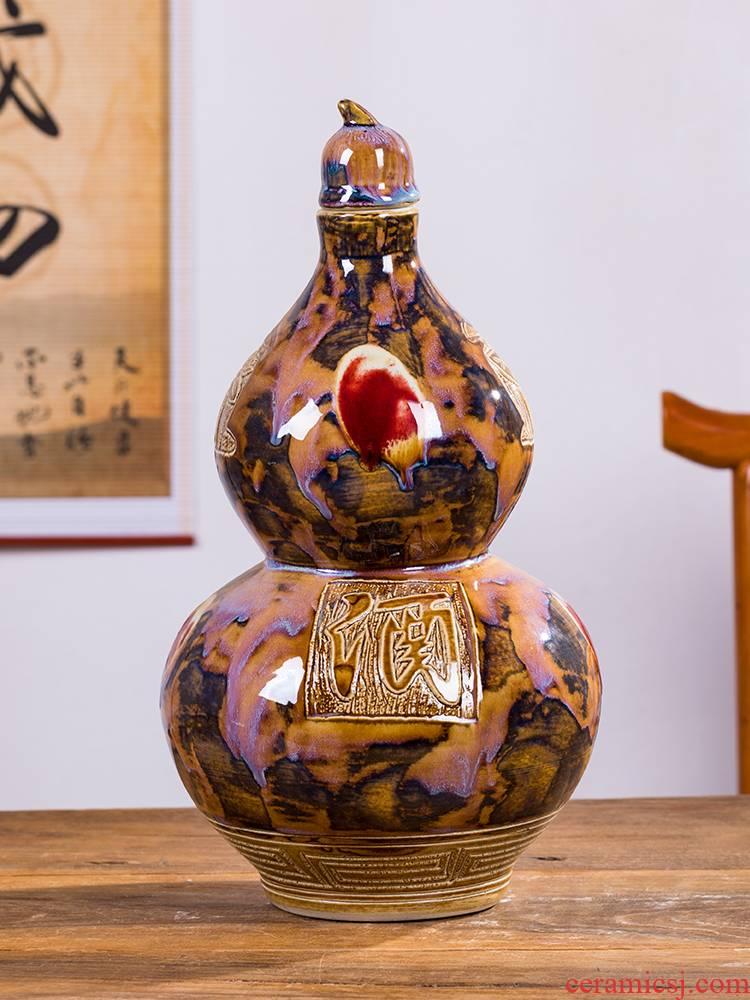 Di - ten catties gourd up ceramic jars home 10 jins of empty wine bottle seal tank storage jar furnishing articles bottle