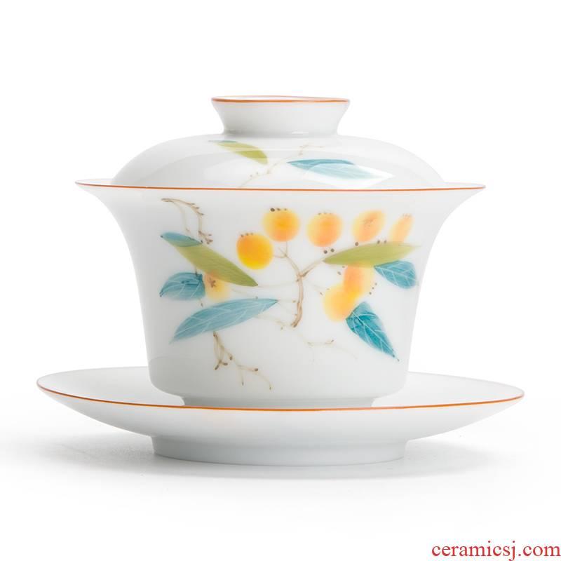 Mr [proprietary] nanshan hand - made LuZhi tureen ceramic three large tea bowl cups white porcelain tea set