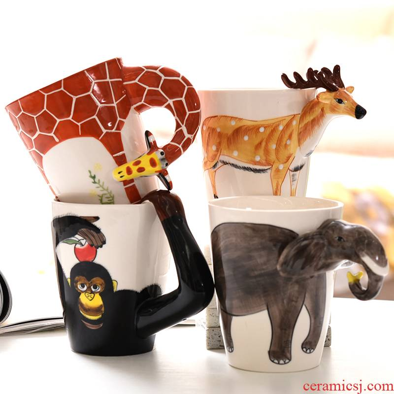 3 d animal keller large capacity water hand - made ceramic cup, lovely creative move milk coffee cup